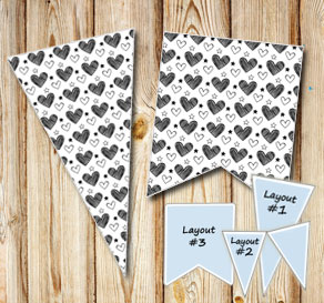Pennants with black and white hearts  | Free printable for Valentines day