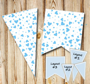 Pennants with light blue hearts  | Free printable for Valentines day