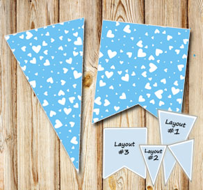 Light blue pennants with white hearts  | Free printable for Valentines day