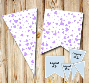 Pennants with light purple hearts  | Free printable for Valentines day
