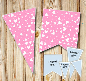 Light pink pennants with white hearts  | Free printable for Valentines day