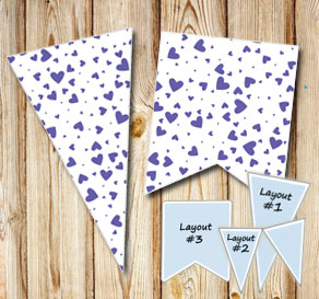 Pennants with dark purple hearts  | Free printable for Valentines day