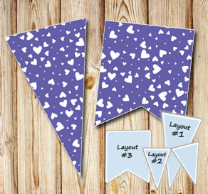 Dark purple pennants with white hearts  | Free printable for Valentines day