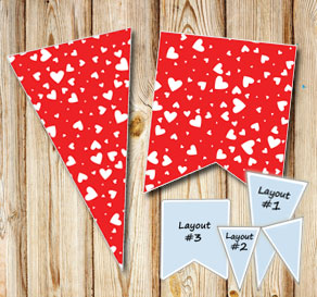 Red pennants with white hearts  | Free printable for Valentines day