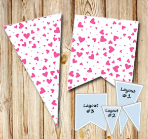 Pennants with pink hearts  | Free printable for Valentines day