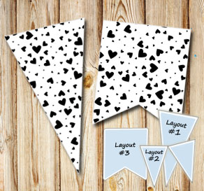 Pennants with black hearts  | Free printable for Valentines day