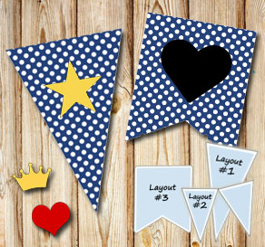 Dark blue pennants with white dots and symbols  | Free printable pennant/banner