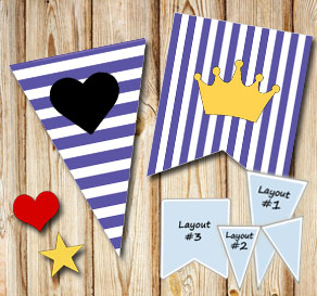 Purple and white striped pennants with symbols  | Free printable pennant/banner