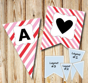 Pennants with pink mixes stripes and A-Z  | Free printable for Valentines day