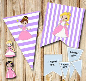 Light purple and white striped pennants with prince...  | Free printable pennant/banner