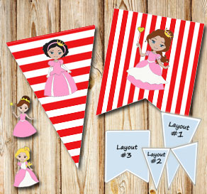 Red and white striped pennants with princesses  | Free printable pennant/banner