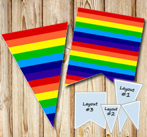 Striped pennants in rainbow colors  | Free printable pennant/banner