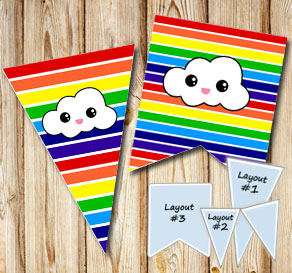 Striped pennants win  rainbow colors with clouds 2  | Free printable pennant/banner