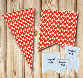Pennants with red hearts 2  | Free printable for Valentines day