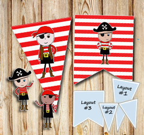 Red and white striped pennants with pirates  | Free printable pennant/banner