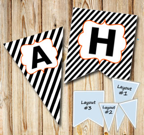Black and white striped pennants for Halloween with...  | Free printable for Halloween
