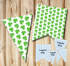 Pennants with green shamrock for St Patricks day  | Free printable for St Patricks day