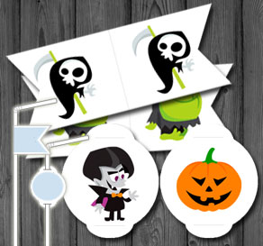 Straw decorations with Halloween figures  | Free printable for Halloween