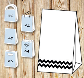 White gift bag with black chevron   | Free printable gift bag