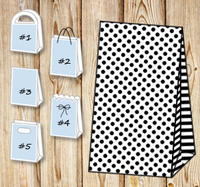 White gift bag with black dots and striped sides  | Free printable gift bag
