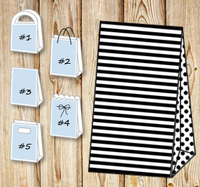 White and black striped gift bag with dotted sides  | Free printable gift bag