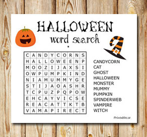 Halloween inspired word search 2  | Free printable for Halloween