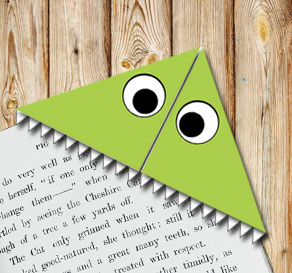 Corner bookmark: Green monster  | Free printable for Halloween