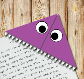 Corner bookmark: Purple monster  | Free printable for Halloween
