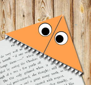 Corner bookmark: Orange monster  | Free printable for Halloween