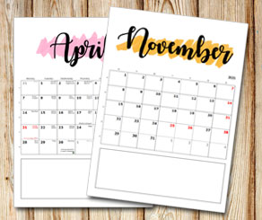 Family calendar: Month name with sharpie background...  | Free printable calendar: