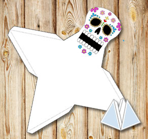 Flower skull pyramid gift box  | Free printable for Halloween