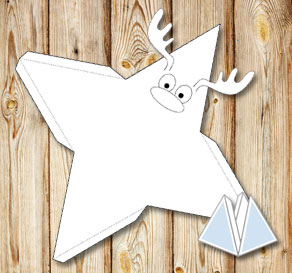 Pyramid gift box with a reindeer to color yourself   | Free printable for Christmas