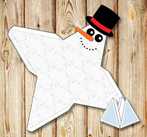 Pyramid gift box with a snowman and snowflakes  | Free printable for Christmas