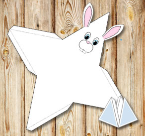 Animal pyramid gift box: White bunny  | Free printable for Easter