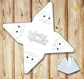 Pyramid gift box with Santa Claus to color yourself  | Free printable for Christmas